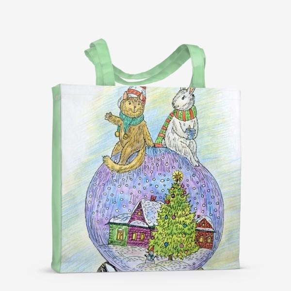 Сумка-шоппер «Кот и заяц на новогоднем шаре»