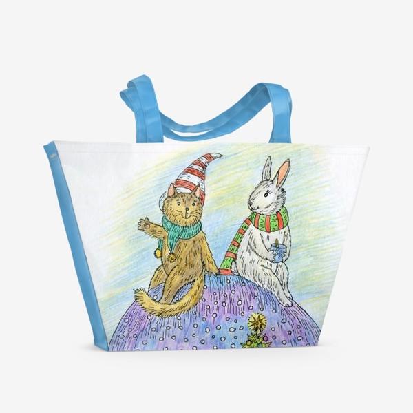 Пляжная сумка «Кот и заяц на новогоднем шаре»
