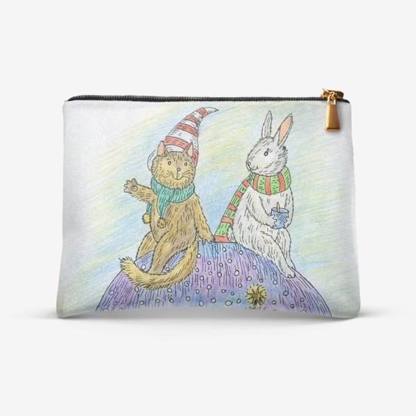 Косметичка «Кот и заяц на новогоднем шаре»