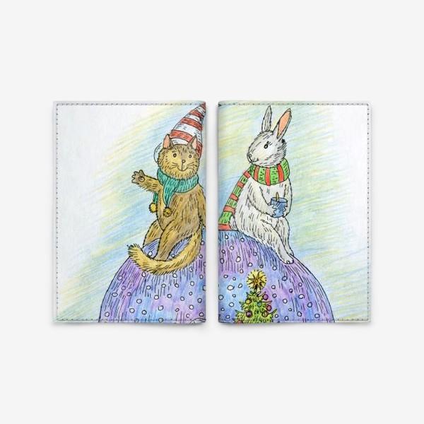 Обложка для паспорта «Кот и заяц на новогоднем шаре»