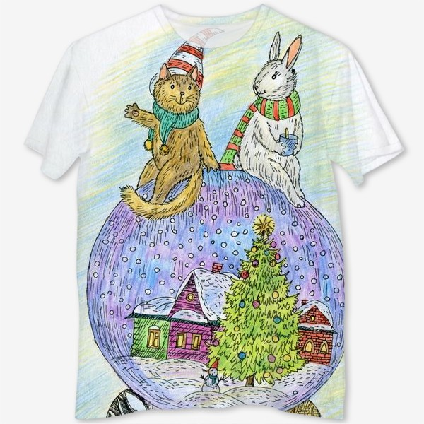 Футболка с полной запечаткой «Кот и заяц на новогоднем шаре»