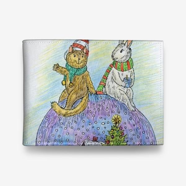 Кошелек «Кот и заяц на новогоднем шаре»