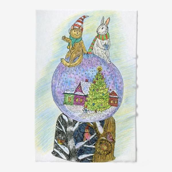 Полотенце «Кот и заяц на новогоднем шаре»