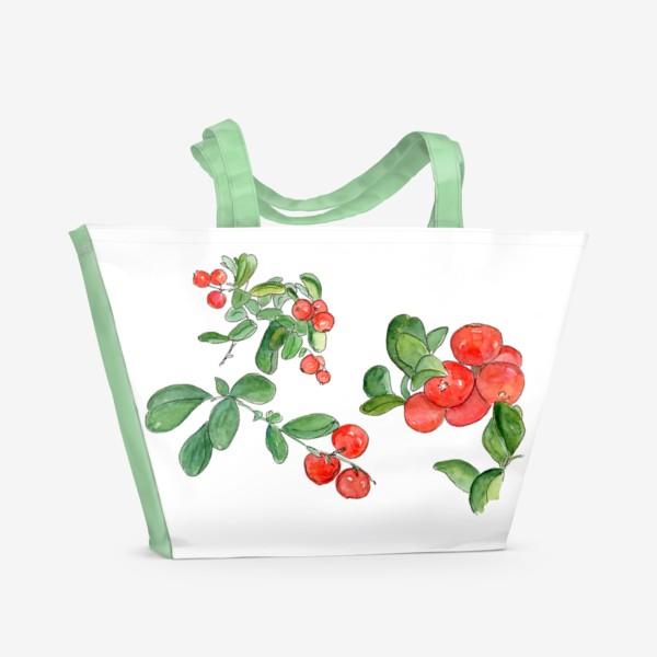 Пляжная сумка «Брусника - богатство осеннего леса»