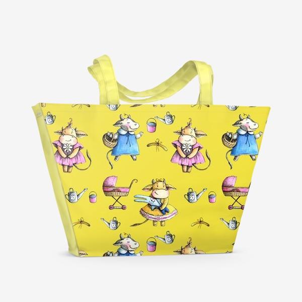 Пляжная сумка «Коровки на желтом»
