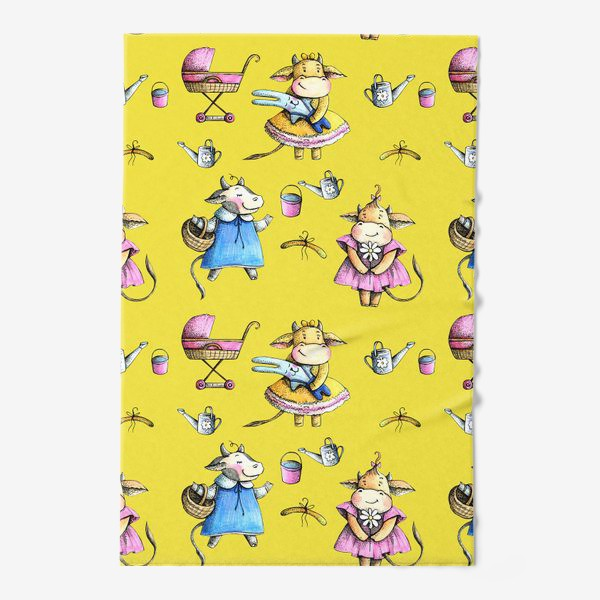 Полотенце «Коровки на желтом»