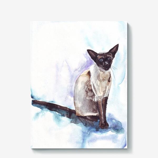 Холст «Сиамский кот на голубом фоне»