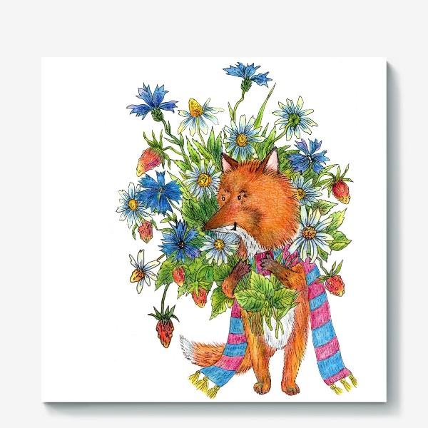 Холст «Лис с букетом цветов»