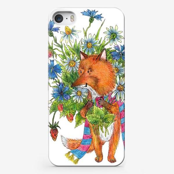 Чехол iPhone «Лис с букетом цветов»