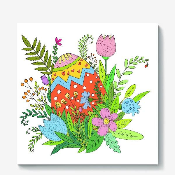 Холст «Пасха яйцо и цветы»