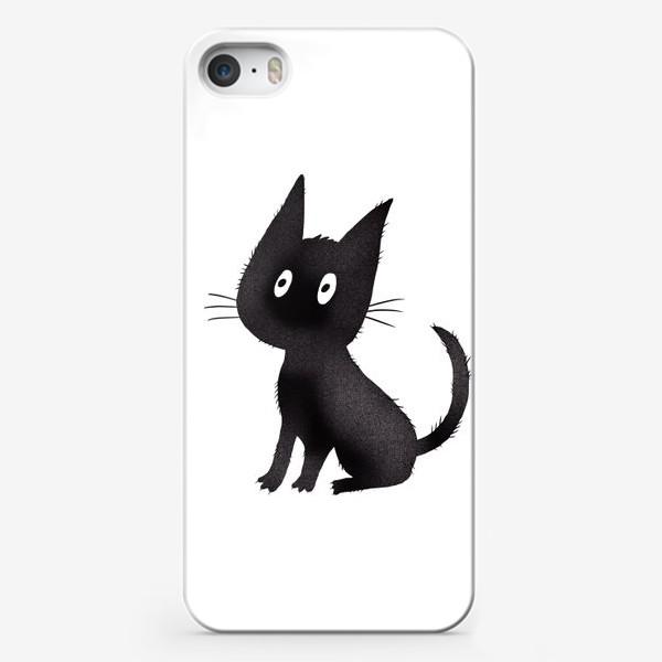 Чехол iPhone «Милый чёрный кот»