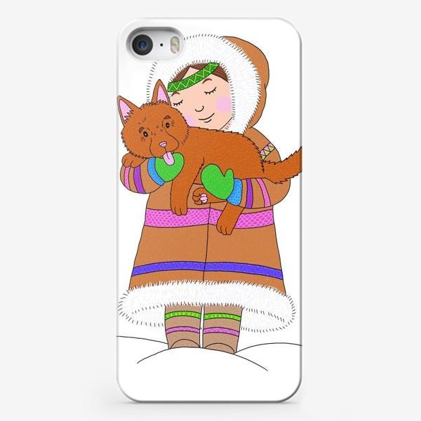 Чехол iPhone «Девочка и щенок»