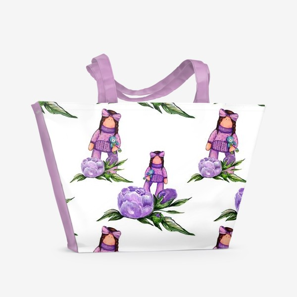 Пляжная сумка «Нежные пионы и куколка»
