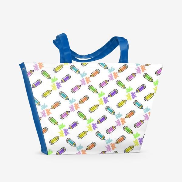 Пляжная сумка «Цветные карандаши (белый фон)»