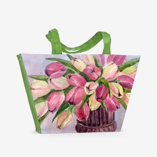 Пляжная сумка «Букет тюльпанов»