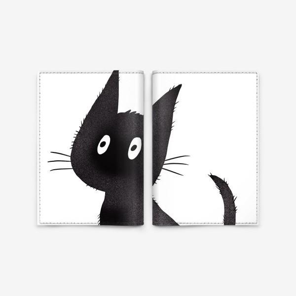 Обложка для паспорта «Милый чёрный кот»