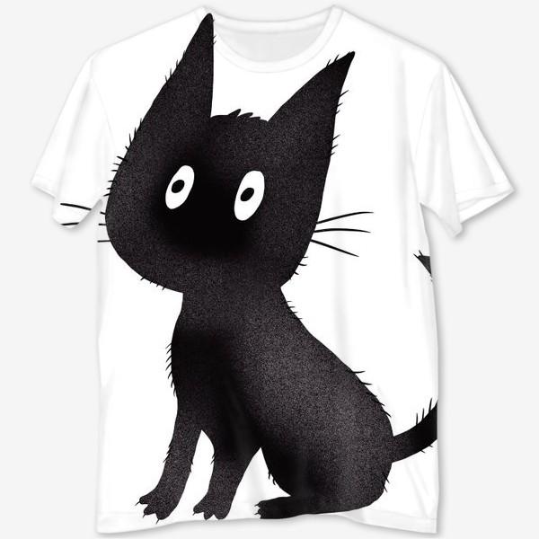 Футболка с полной запечаткой «Милый чёрный кот»