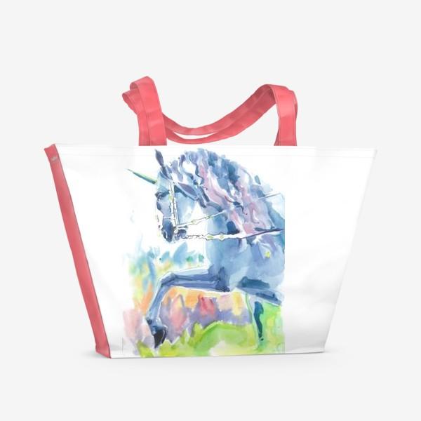 Пляжная сумка «Волшебный лес. Единорог »