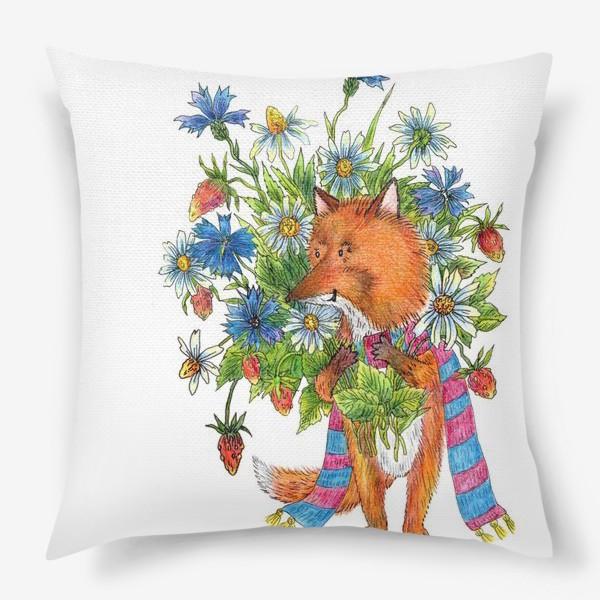 Подушка «Лис с букетом цветов»