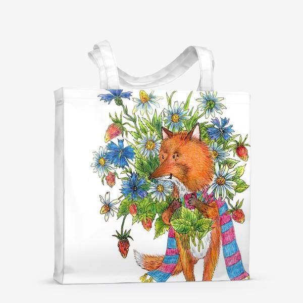 Сумка-шоппер «Лис с букетом цветов»