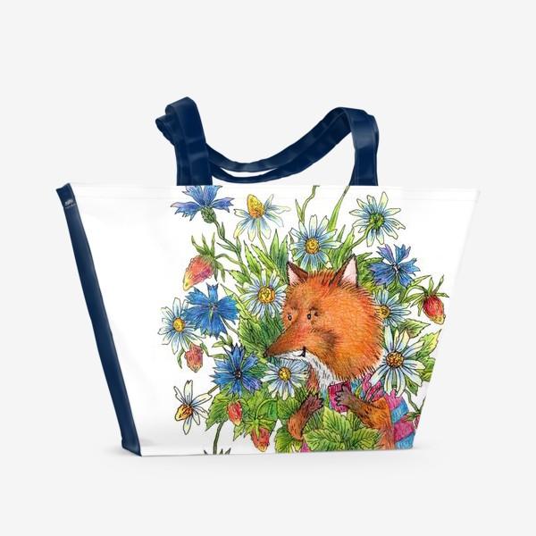 Пляжная сумка «Лис с букетом цветов»