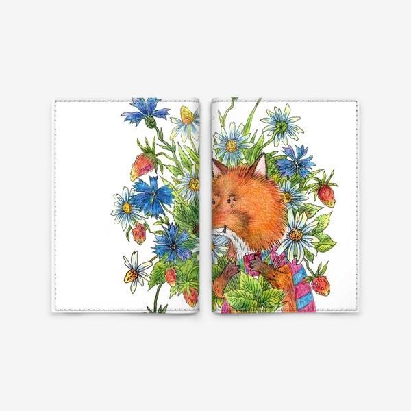 Обложка для паспорта «Лис с букетом цветов»