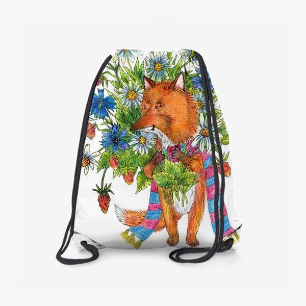 Рюкзак «Лис с букетом цветов»