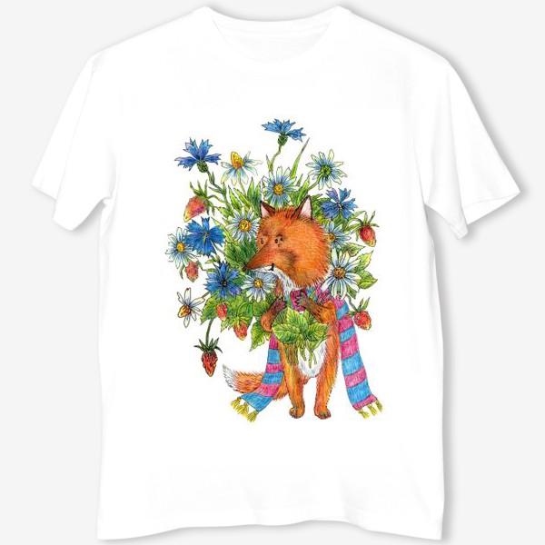 Футболка «Лис с букетом цветов»