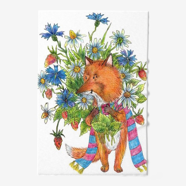 Полотенце «Лис с букетом цветов»