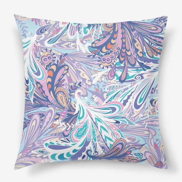 Подушка «Абстрактные узоры в синей гамме»