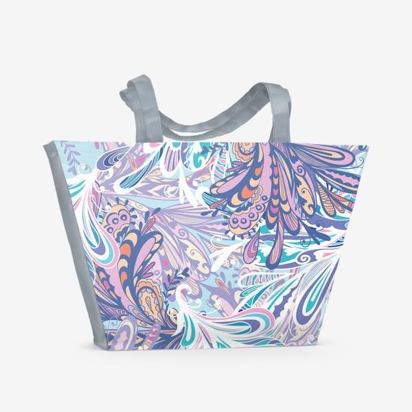 Пляжная сумка «Абстрактные узоры в синей гамме»