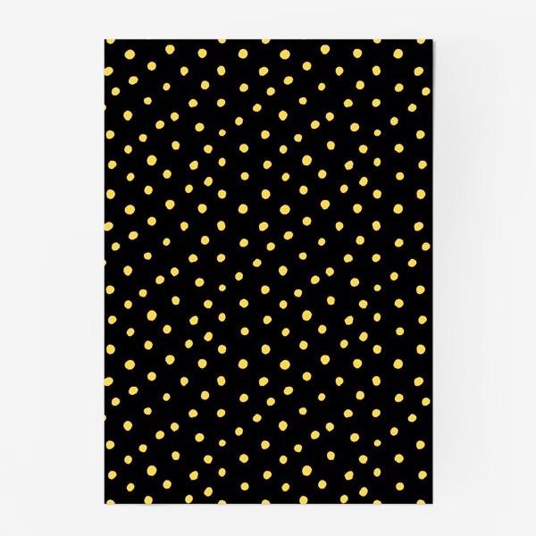 Постер «Паттерн золотистые крапинки на чёрном фоне»