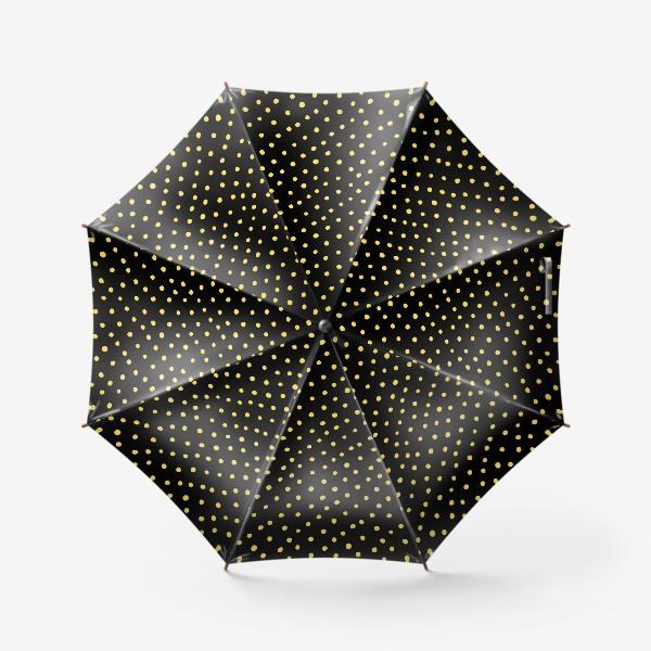 Зонт «Паттерн золотистые крапинки на чёрном фоне»