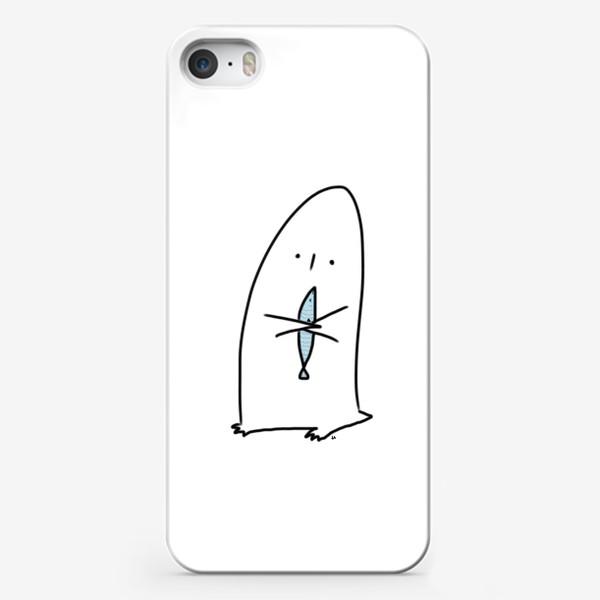 Чехол iPhone «Милый маленький пингвин с рыбкой»