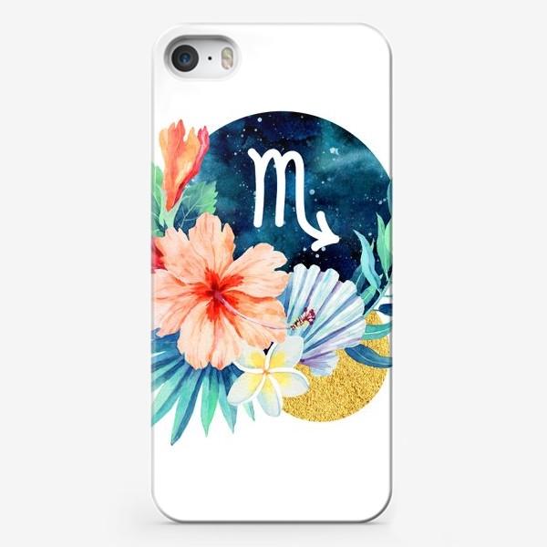 Чехол iPhone «Подарок для СКОРПИОНА Тропические цветы»