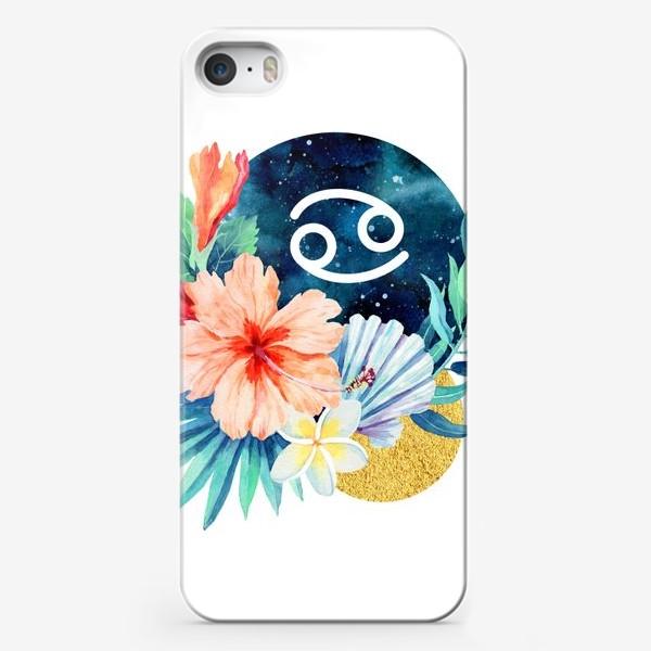 Чехол iPhone «Подарок для РАКА Тропические цветы»