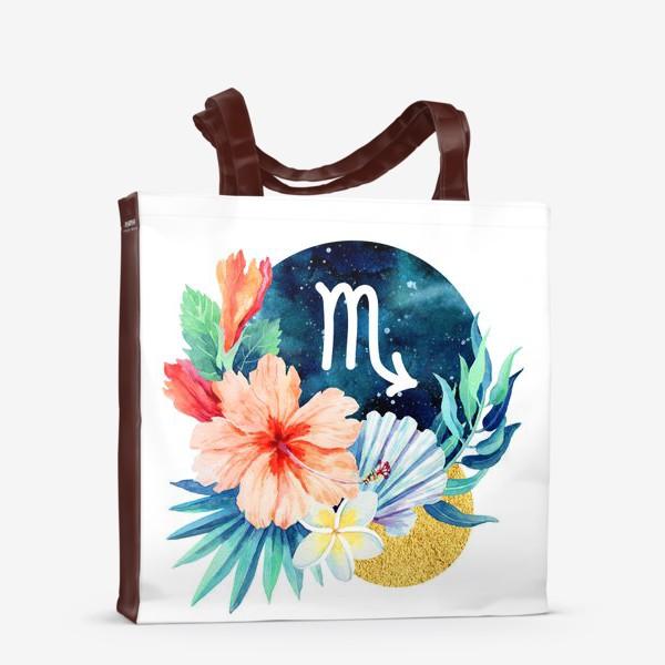 Сумка-шоппер «Подарок для СКОРПИОНА Тропические цветы»