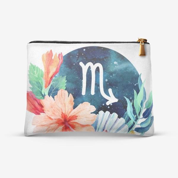 Косметичка «Подарок для СКОРПИОНА Тропические цветы»
