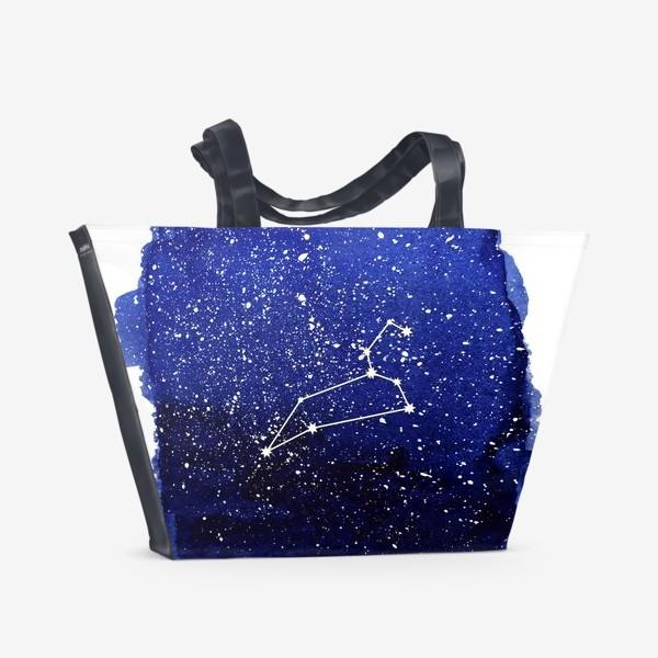 Пляжная сумка «Созвездие Лев. Акварель»