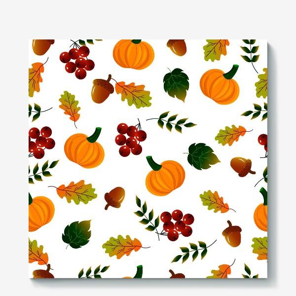 Холст «Осенний паттерн с тыквой»