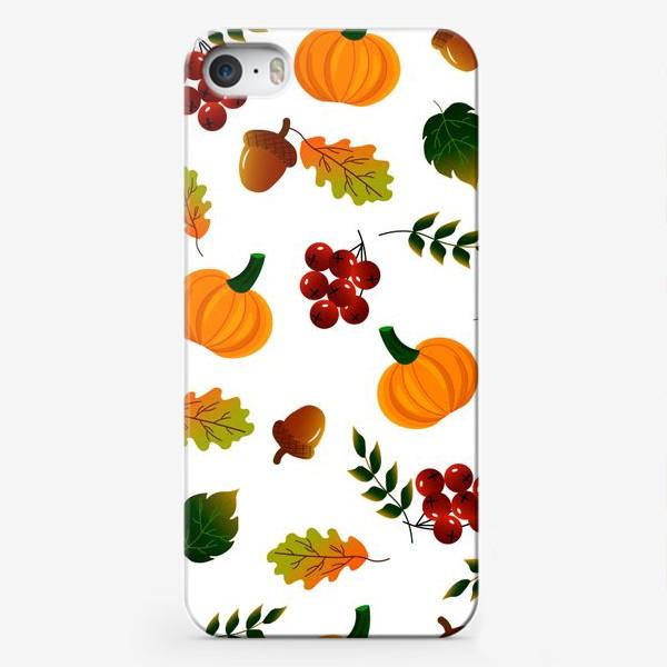 Чехол iPhone «Осенний паттерн с тыквой»