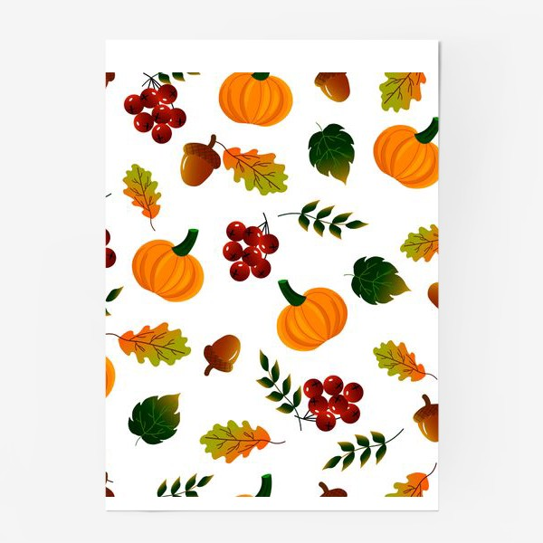 Постер «Осенний паттерн с тыквой»