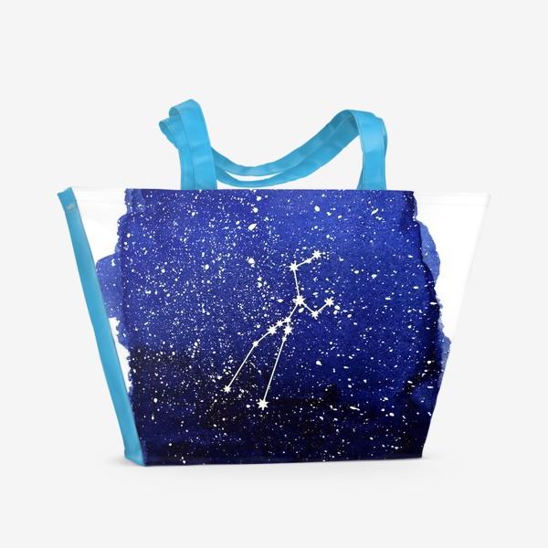 Пляжная сумка «Созвездие Телец. Акварель»