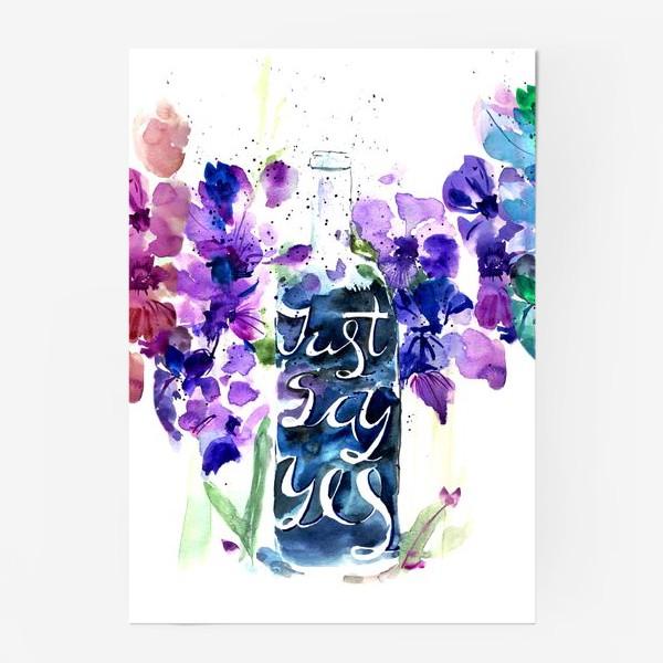 Постер «Цветы гладиолусы, буквы»