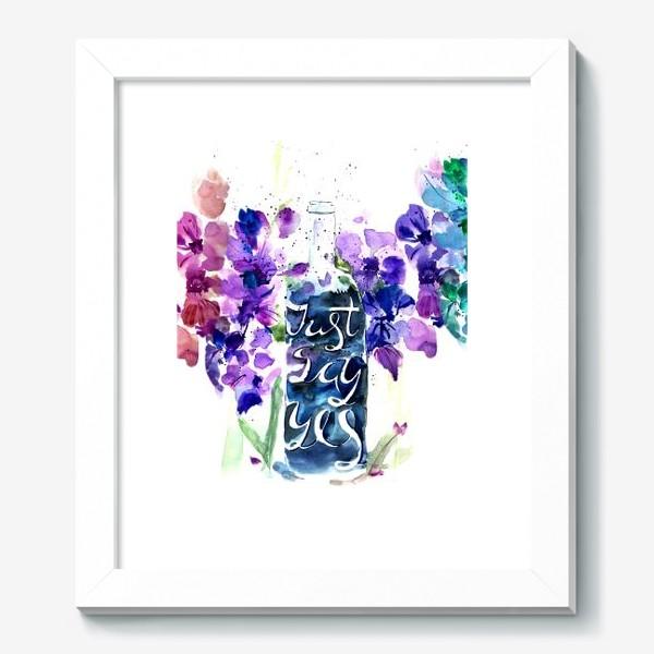 Картина «Цветы гладиолусы, буквы»