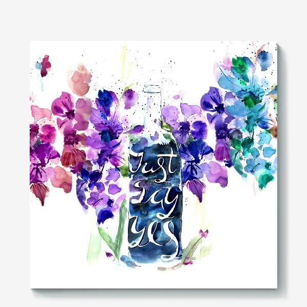 Холст «Цветы гладиолусы, буквы»