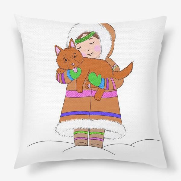 Подушка «Девочка и щенок»