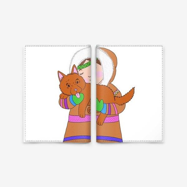 Обложка для паспорта «Девочка и щенок»