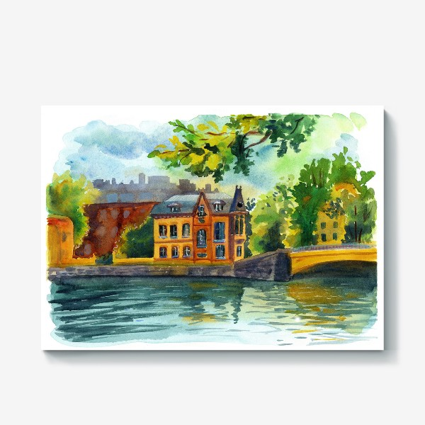 Холст «Красивый домик на берегу реки»