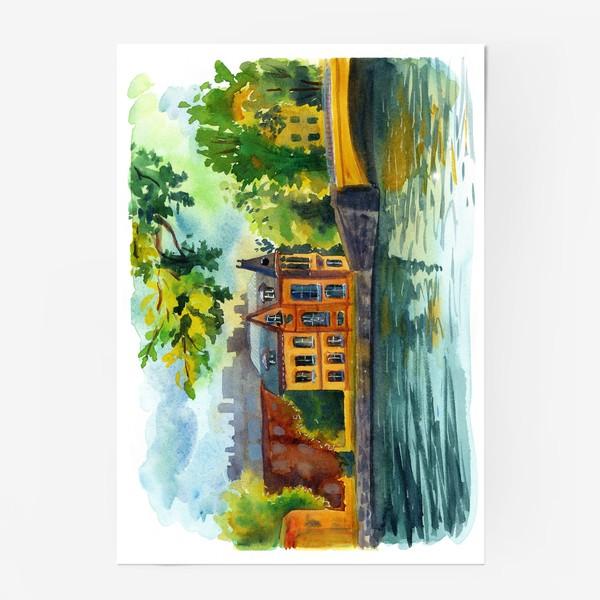 Постер «Красивый домик на берегу реки»